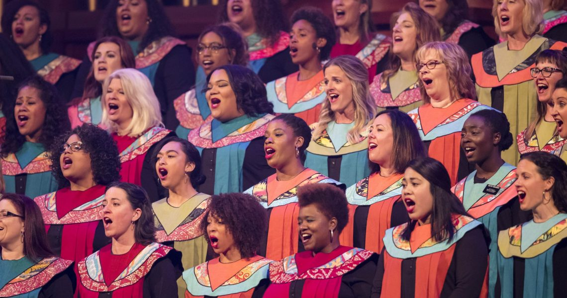 """A choir performs at the """"Be One"""" event in 2018 commemorating the extension of the priesthood to all worthy males."""