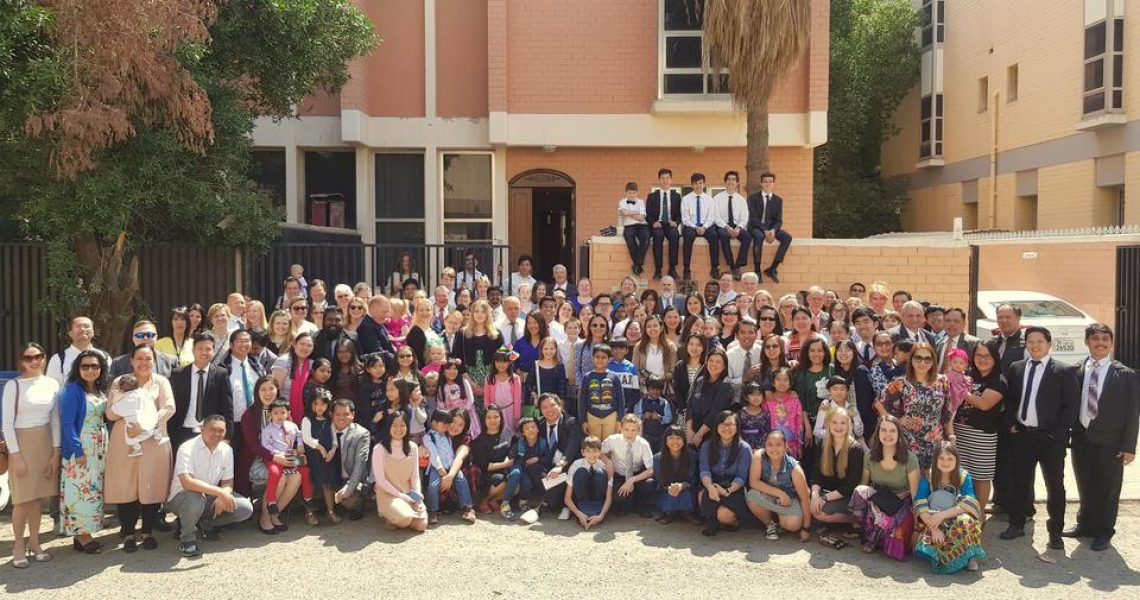 Latter-day Saints of the Kuwait Ward pose in front of the meetinghouses.   Church Newsroom