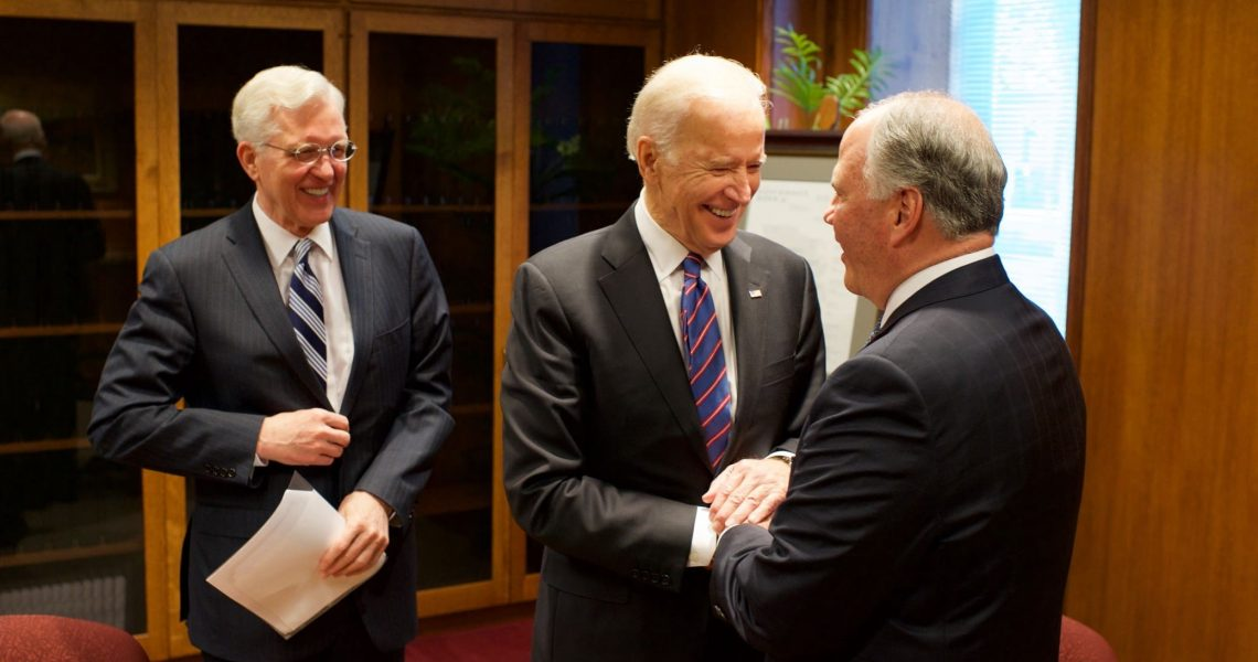 Vice President Joe Biden meets with Elders D. Todd Chrisofferson and Ronald A. Rasband of the Quorum of the Twelve Apostles in 2016.