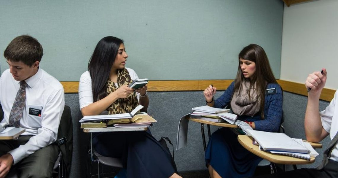Sister missionaries prepare at the Missionary Training Center in Provo, Utah.   Intellectual Reserve