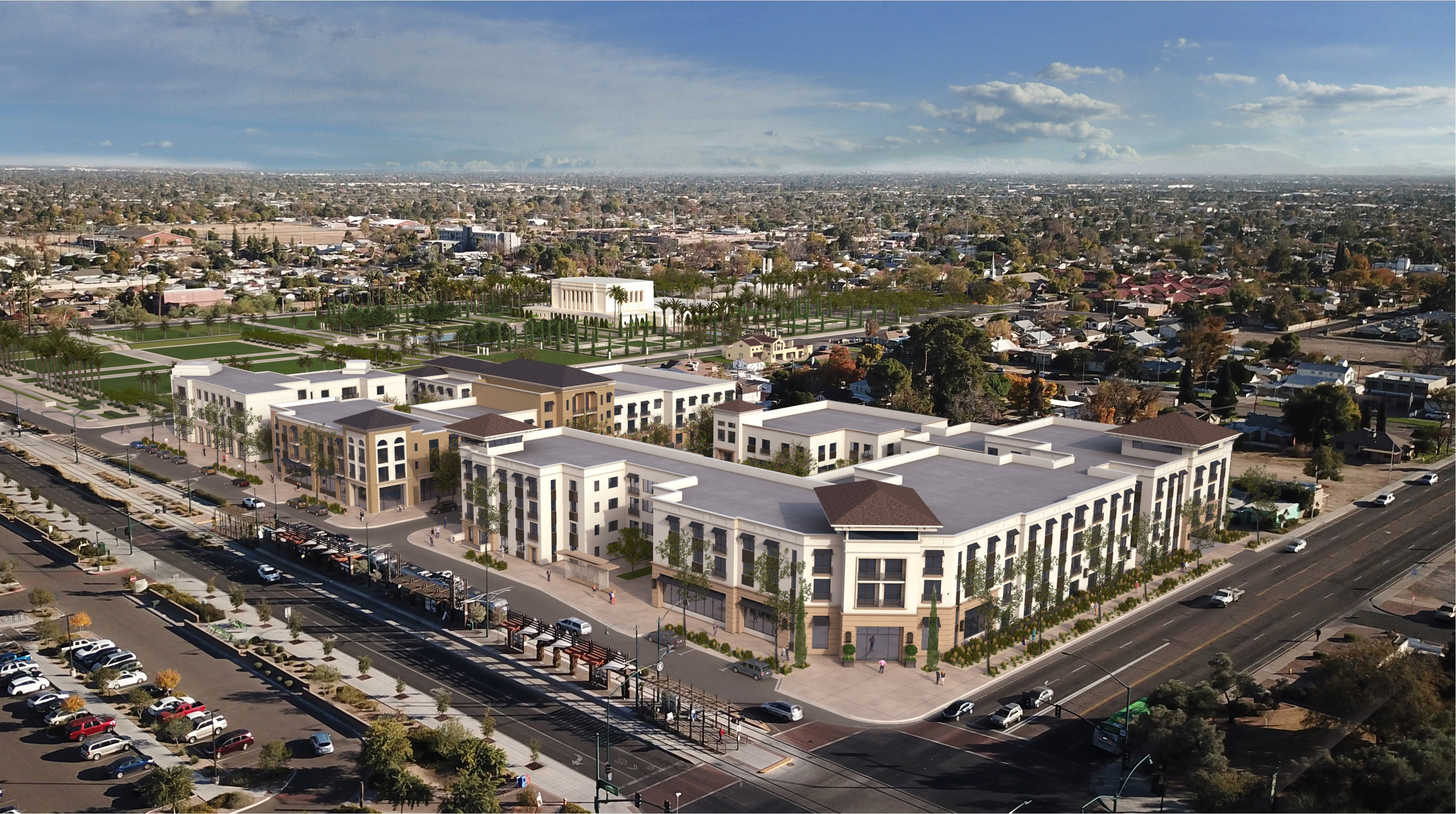 Plans have been announced to redevelop 4.5 acres of land near the Mesa Arizona Temple. This rendering offers a southeast view of the mixed-use community.