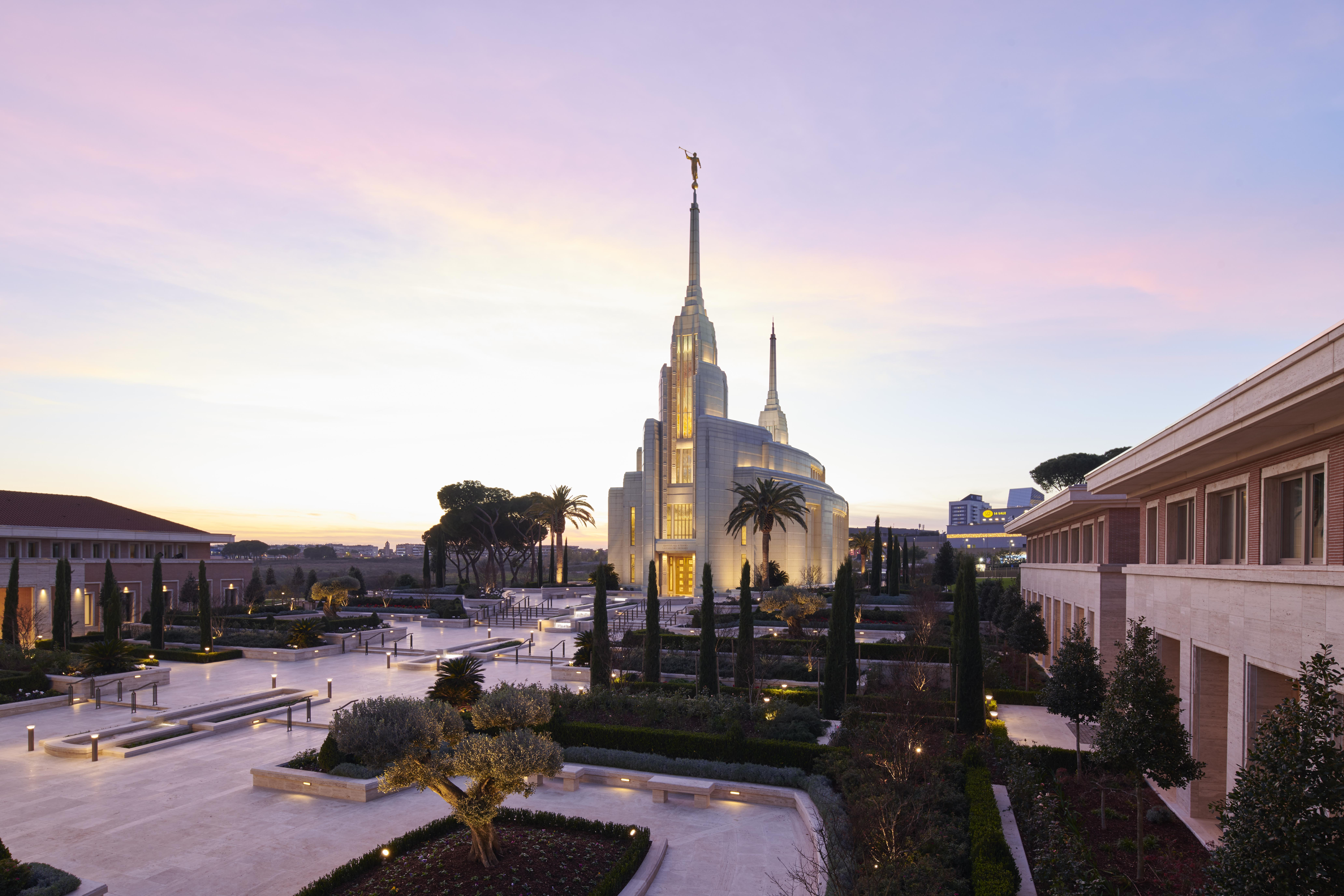 The Rome Italy Temple at dusk.