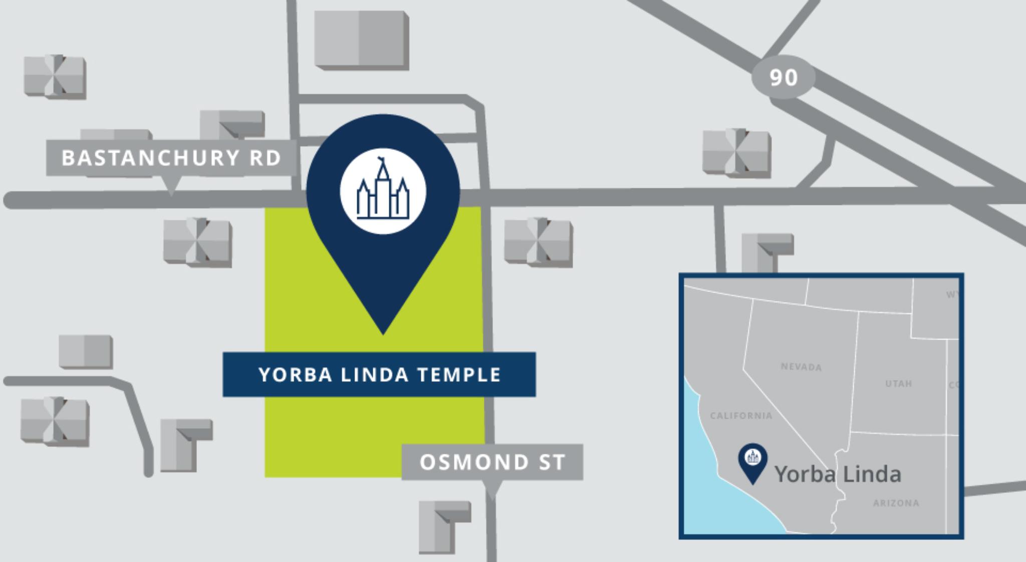 Location of the Yorba Linda California Temple | Church Newsroom