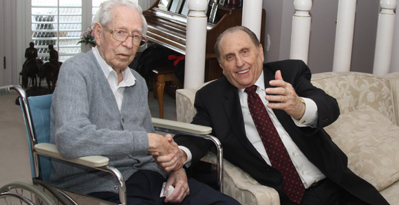 Eldred G. Smith with Thomas S. Monson in 2018   Gerry Avant